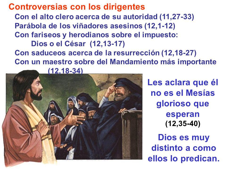 Controversias con los dirigentes Les aclara que él no es el Mesías glorioso que esperan (12,35-40) Con el alto clero acerca de su autoridad (11,27-33)