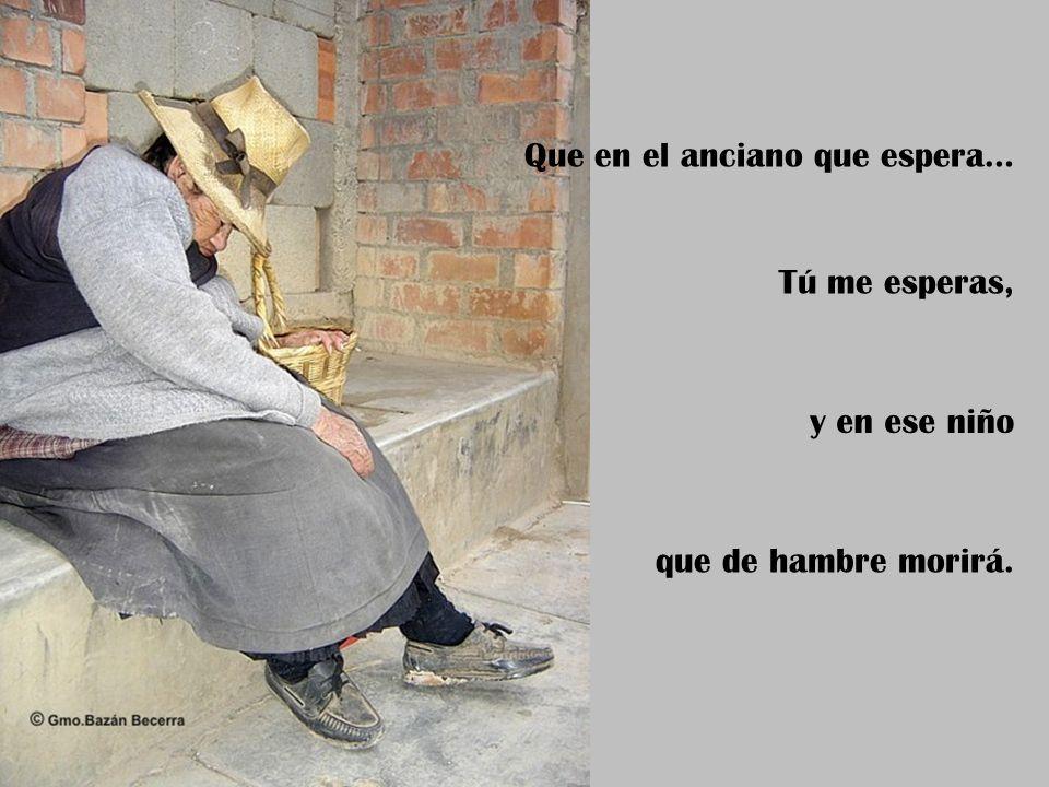 Que en el anciano que espera… Tú me esperas, y en ese niño que de hambre morirá.