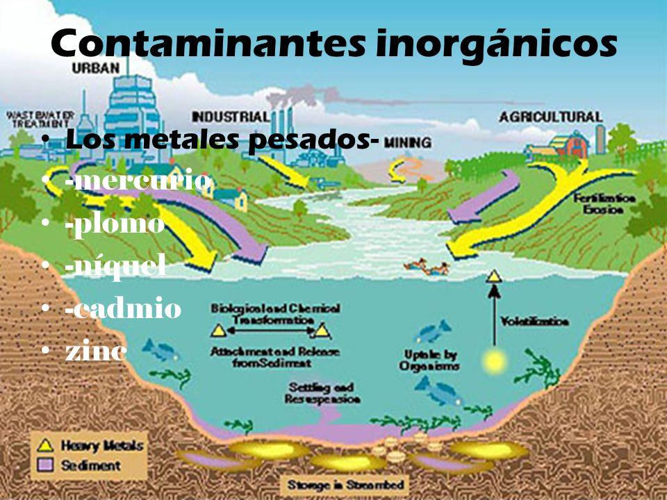 Contaminantes inorgánicos Los metales pesados- -mercurio -plomo -níquel -cadmio zinc