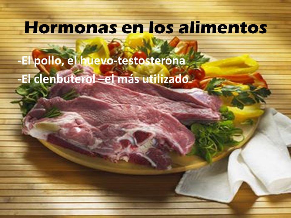 Hormonas en los alimentos -El pollo, el huevo-testosterona -El clenbuterol –el más utilizado