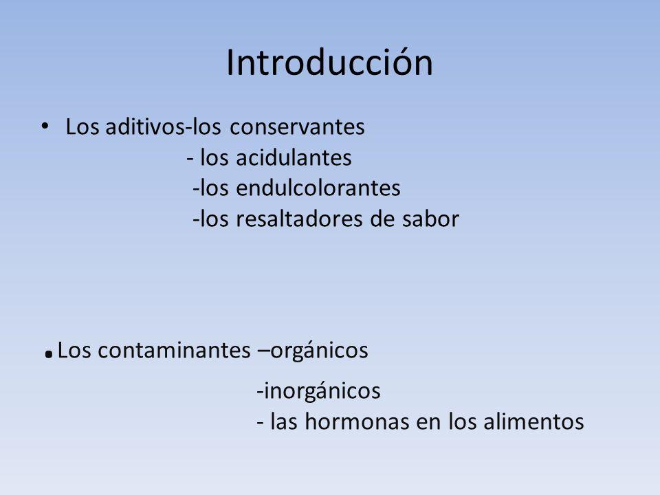 Introducción Los aditivos-los conservantes - los acidulantes -los endulcolorantes -los resaltadores de sabor.