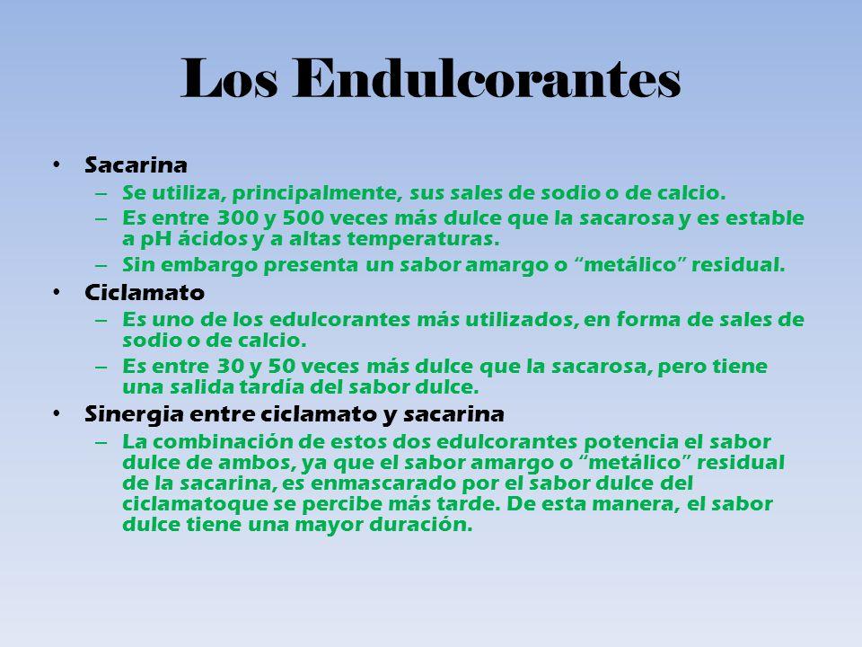 Los Endulcorantes Sacarina – Se utiliza, principalmente, sus sales de sodio o de calcio.