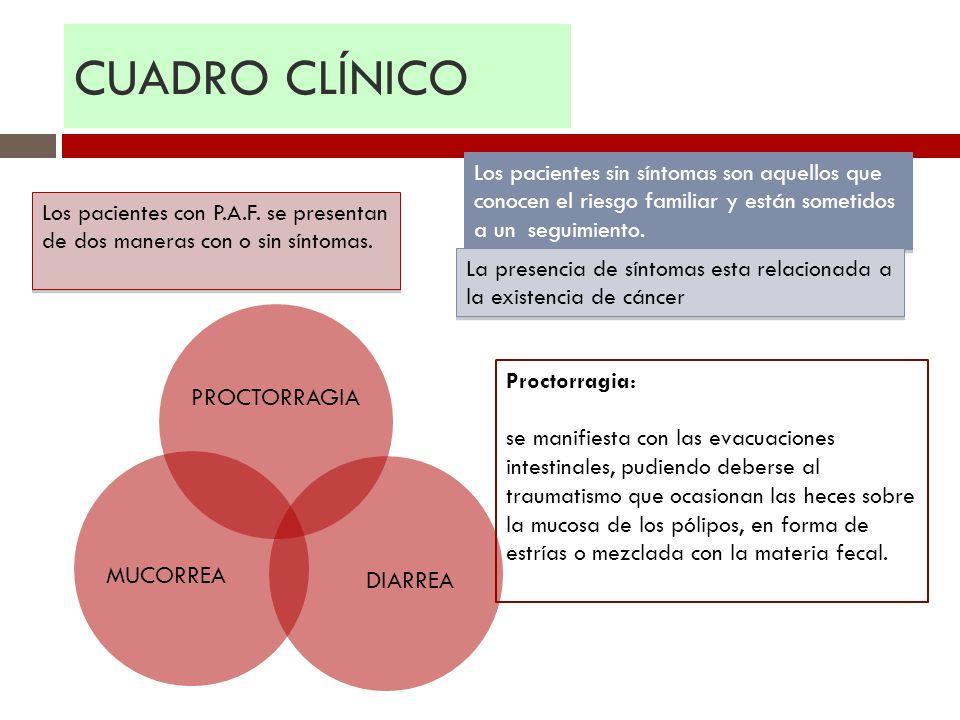 CUADRO CLÍNICO Los pacientes con P.A.F. se presentan de dos maneras con o sin síntomas. Los pacientes sin síntomas son aquellos que conocen el riesgo