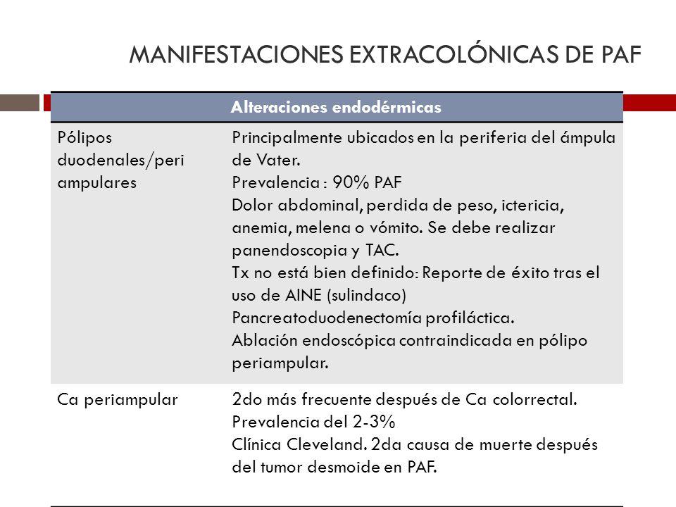 MANIFESTACIONES EXTRACOLÓNICAS DE PAF Alteraciones endodérmicas Pólipos duodenales/peri ampulares Principalmente ubicados en la periferia del ámpula d