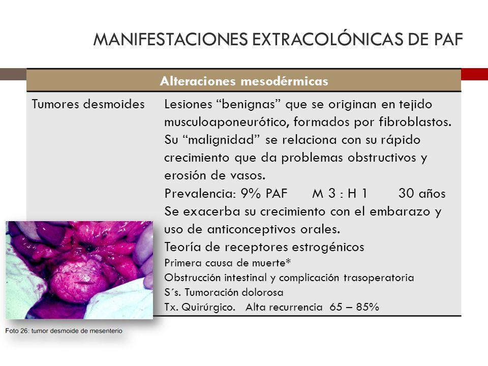 MANIFESTACIONES EXTRACOLÓNICAS DE PAF Alteraciones mesodérmicas Tumores desmoidesLesiones benignas que se originan en tejido musculoaponeurótico, form