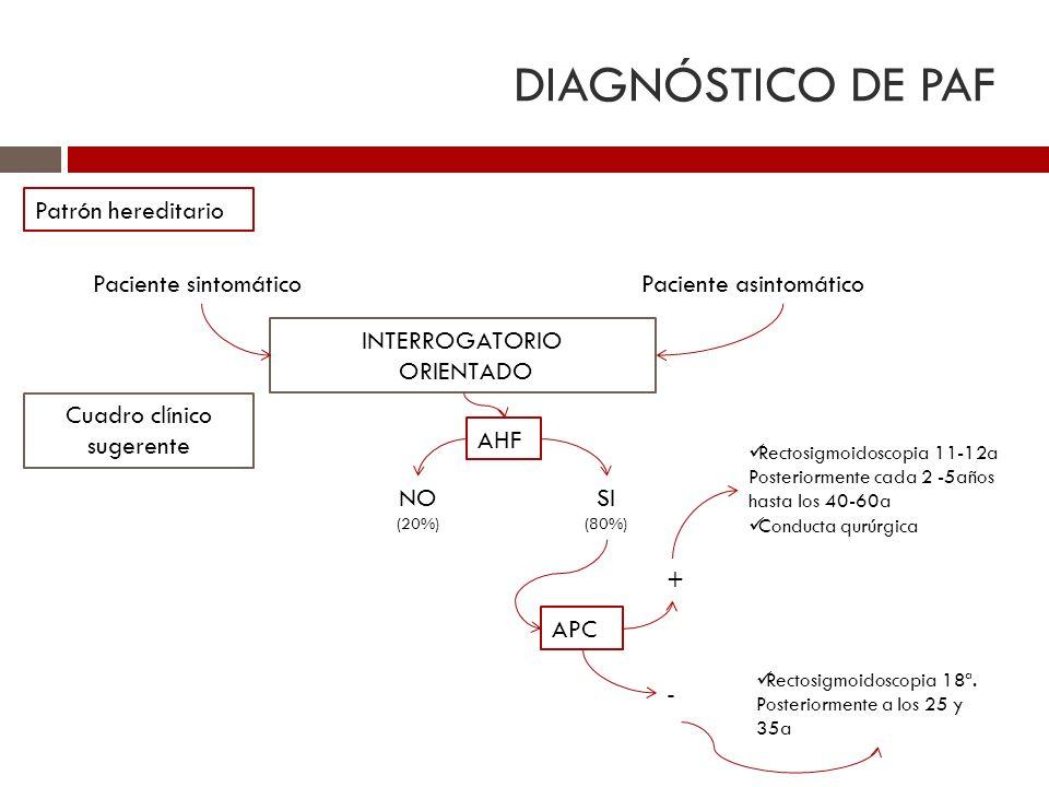 DIAGNÓSTICO DE PAF Patrón hereditario Paciente sintomáticoPaciente asintomático INTERROGATORIO ORIENTADO AHF APC SI (80%) NO (20%) + Rectosigmoidoscop