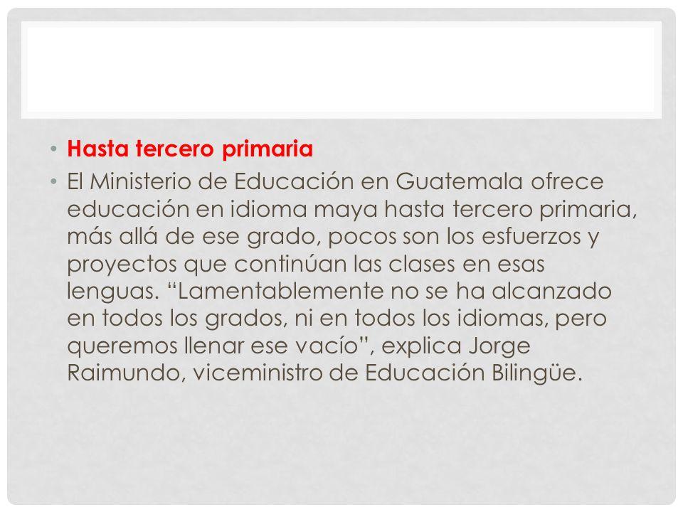 Hasta tercero primaria El Ministerio de Educación en Guatemala ofrece educación en idioma maya hasta tercero primaria, más allá de ese grado, pocos son los esfuerzos y proyectos que continúan las clases en esas lenguas.