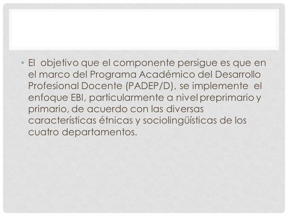 El objetivo que el componente persigue es que en el marco del Programa Académico del Desarrollo Profesional Docente (PADEP/D), se implemente el enfoque EBI, particularmente a nivel preprimario y primario, de acuerdo con las diversas características étnicas y sociolingüísticas de los cuatro departamentos.