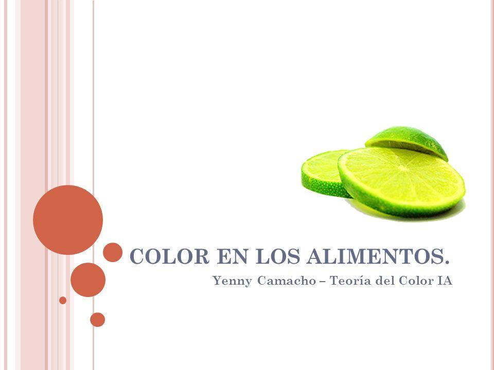 COLOR EN LOS ALIMENTOS. Yenny Camacho – Teoría del Color IA