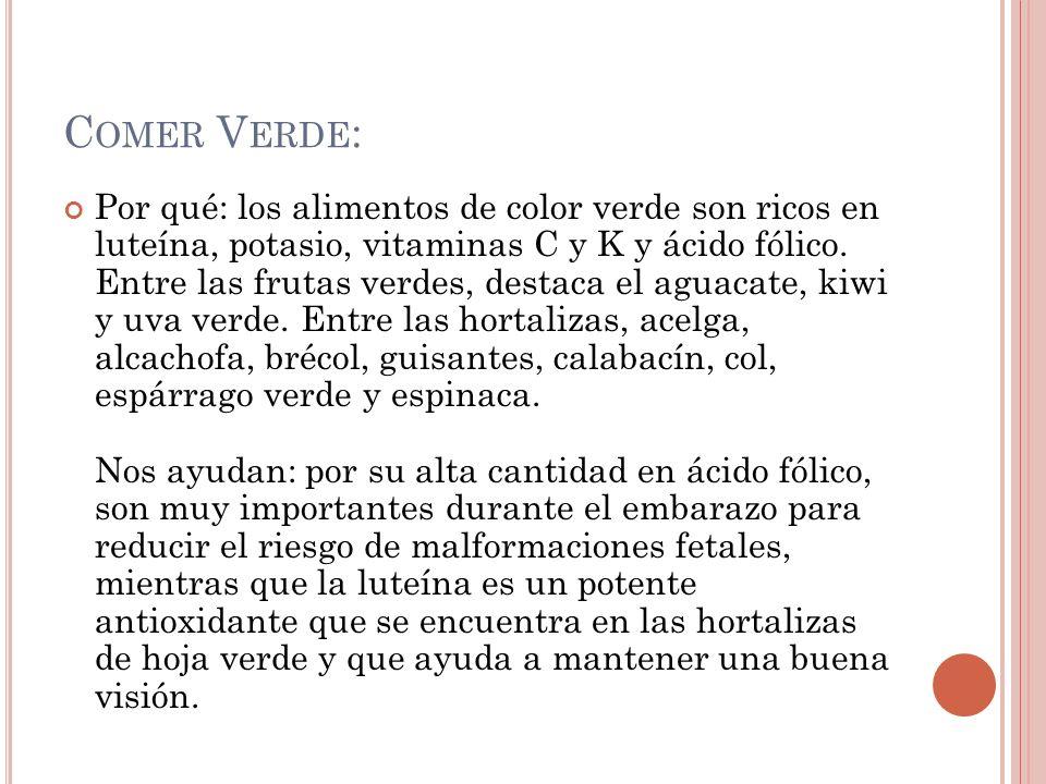 C OMER V ERDE : Por qué: los alimentos de color verde son ricos en luteína, potasio, vitaminas C y K y ácido fólico. Entre las frutas verdes, destaca