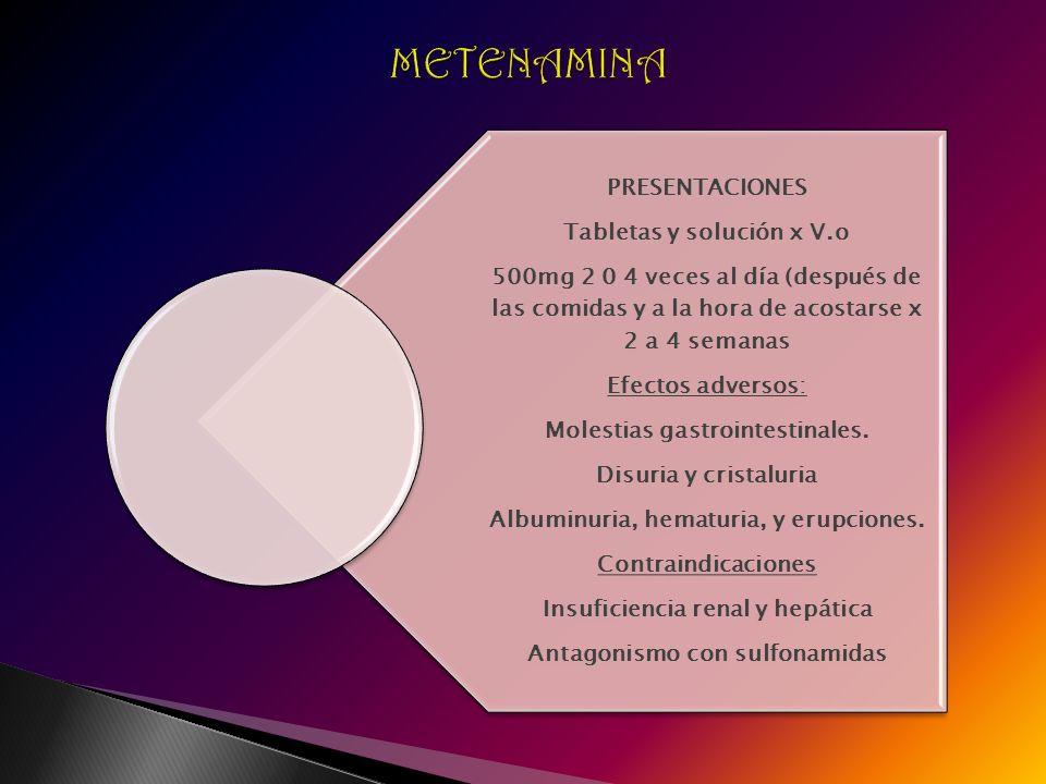 PRESENTACIONES Tabletas y solución x V.o 500mg 2 0 4 veces al día (después de las comidas y a la hora de acostarse x 2 a 4 semanas Efectos adversos: M