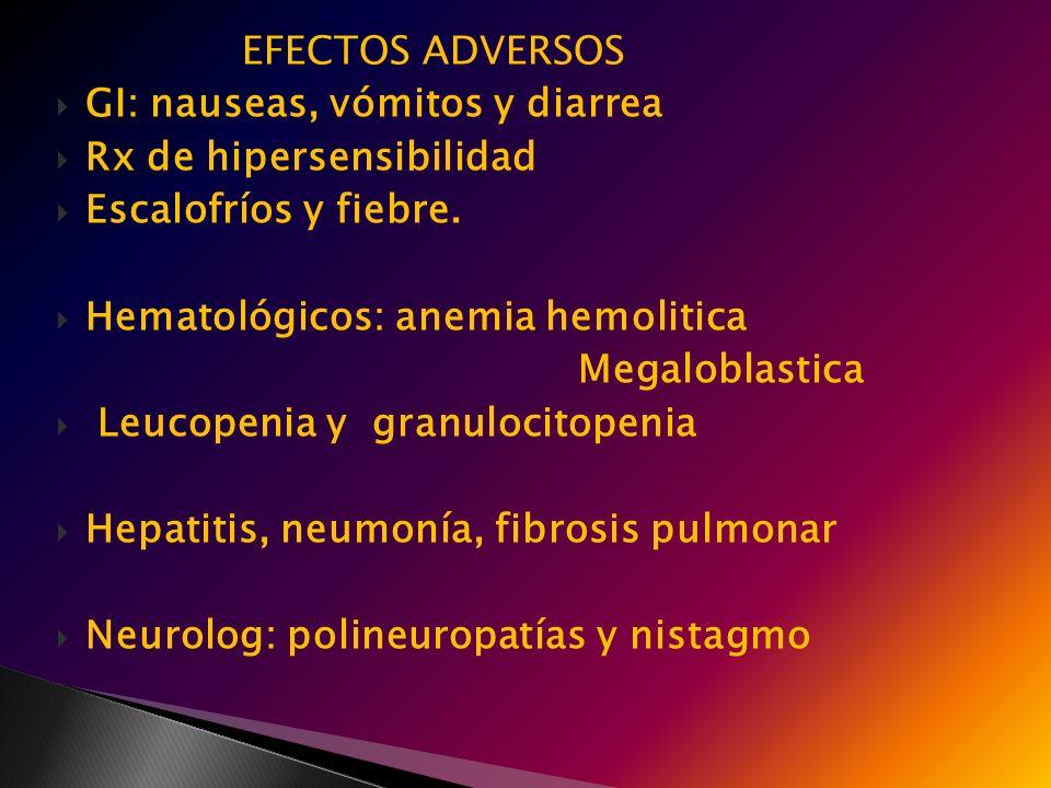 EFECTOS ADVERSOS GI: nauseas, vómitos y diarrea Rx de hipersensibilidad Escalofríos y fiebre. Hematológicos: anemia hemolitica Megaloblastica Leucopen