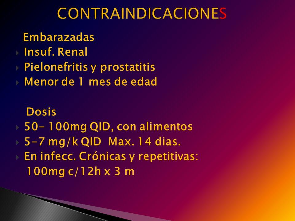 Embarazadas Insuf. Renal Pielonefritis y prostatitis Menor de 1 mes de edad Dosis 50- 100mg QID, con alimentos 5-7 mg/k QID Max. 14 dias. En infecc. C