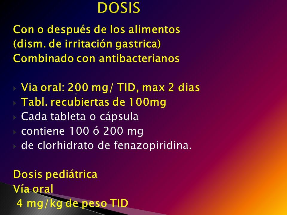 Con o después de los alimentos (dism. de irritación gastrica) Combinado con antibacterianos Via oral: 200 mg/ TID, max 2 dias Tabl. recubiertas de 100
