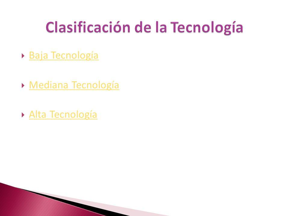 Baja Tecnología Mediana Tecnología Alta Tecnología