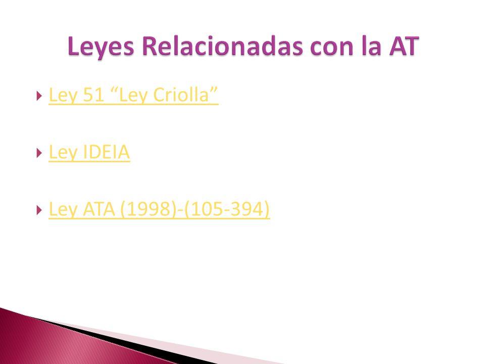 Ley 51 Ley Criolla Ley IDEIA Ley ATA (1998)-(105-394)