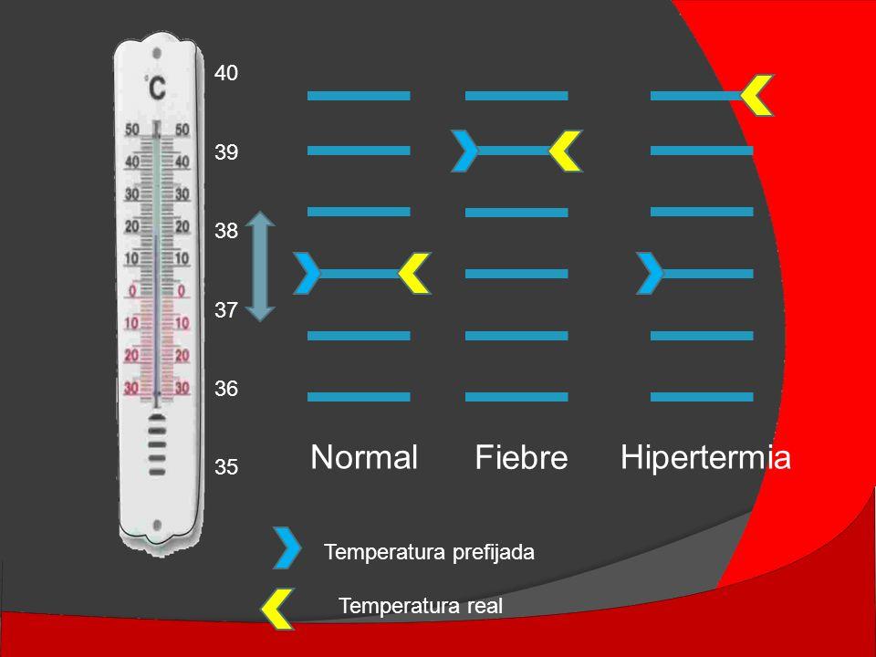NormalHipertermia Fiebre Temperatura prefijada Temperatura real 40 39 38 37 36 35