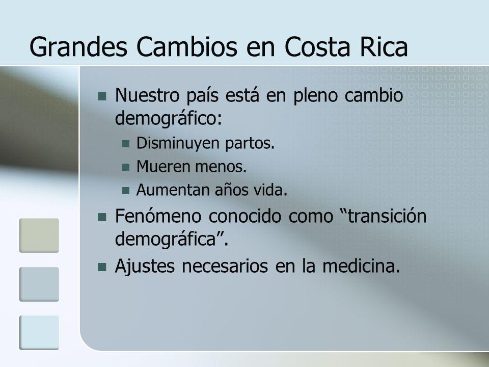 Grandes Cambios en Costa Rica Nuestro país está en pleno cambio demográfico: Disminuyen partos. Mueren menos. Aumentan años vida. Fenómeno conocido co