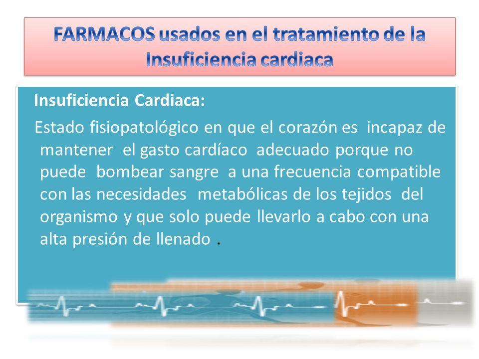 Insuficiencia Cardiaca: Estado fisiopatológico en que el corazón es incapaz de mantener el gasto cardíaco adecuado porque no puede bombear sangre a un