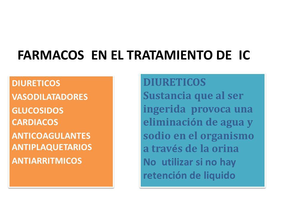FARMACOS EN EL TRATAMIENTO DE IC DIURETICOS VASODILATADORES GLUCOSIDOS CARDIACOS ANTICOAGULANTES ANTIPLAQUETARIOS ANTIARRITMICOS DIURETICOS VASODILATA