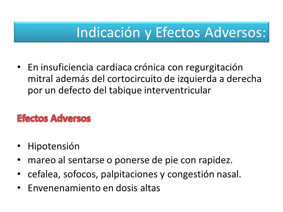 Indicación y Efectos Adversos: