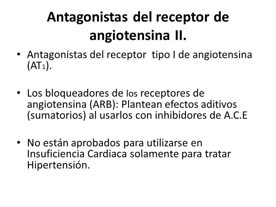 Antagonistas del receptor de angiotensina II. Antagonistas del receptor tipo I de angiotensina (AT 1 ). Los bloqueadores de los receptores de angioten