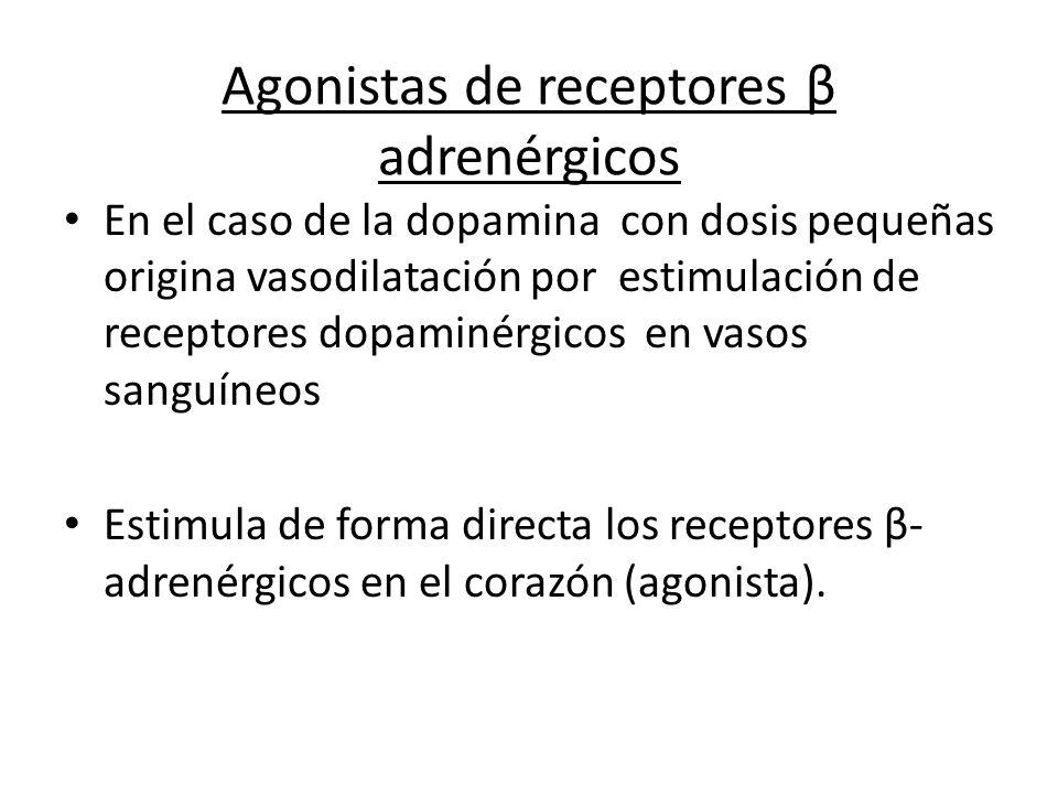 Agonistas de receptores β adrenérgicos En el caso de la dopamina con dosis pequeñas origina vasodilatación por estimulación de receptores dopaminérgic