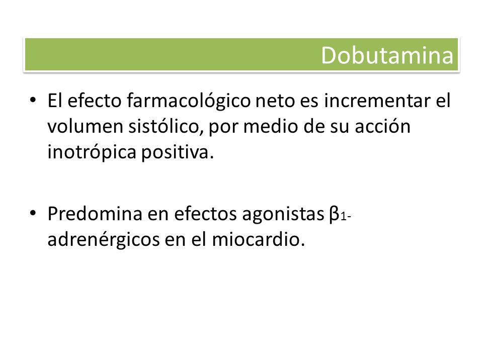Dobutamina El efecto farmacológico neto es incrementar el volumen sistólico, por medio de su acción inotrópica positiva. Predomina en efectos agonista