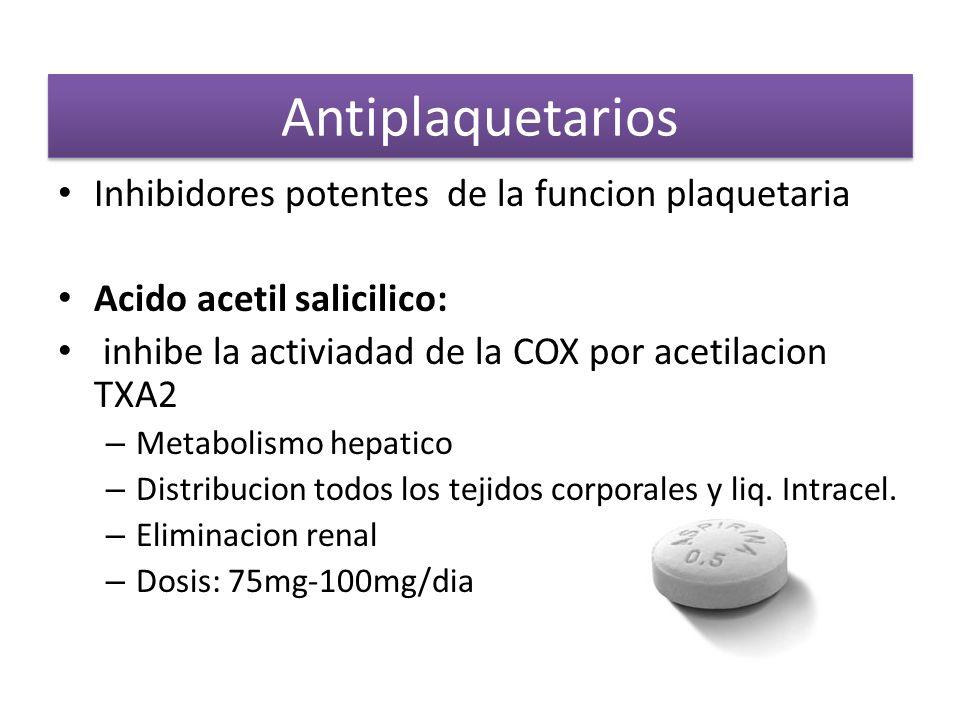 Antiplaquetarios Inhibidores potentes de la funcion plaquetaria Acido acetil salicilico: inhibe la activiadad de la COX por acetilacion TXA2 – Metabol