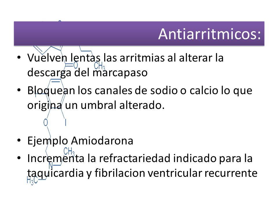 Antiarritmicos: Vuelven lentas las arritmias al alterar la descarga del marcapaso Bloquean los canales de sodio o calcio lo que origina un umbral alte