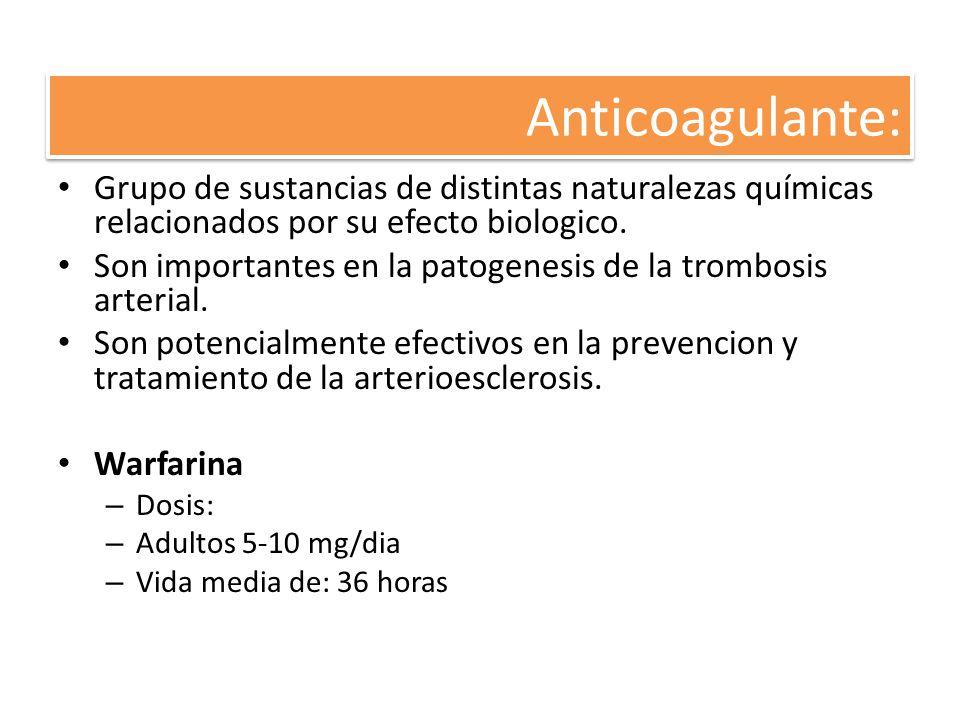 Anticoagulante: Grupo de sustancias de distintas naturalezas químicas relacionados por su efecto biologico. Son importantes en la patogenesis de la tr