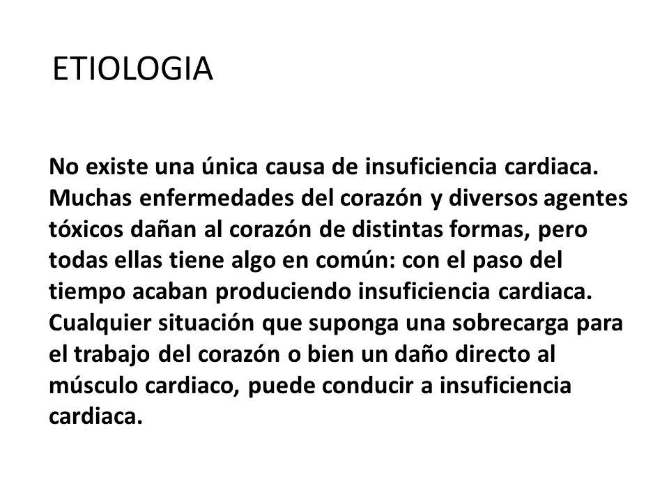 ETIOLOGIA No existe una única causa de insuficiencia cardiaca. Muchas enfermedades del corazón y diversos agentes tóxicos dañan al corazón de distinta