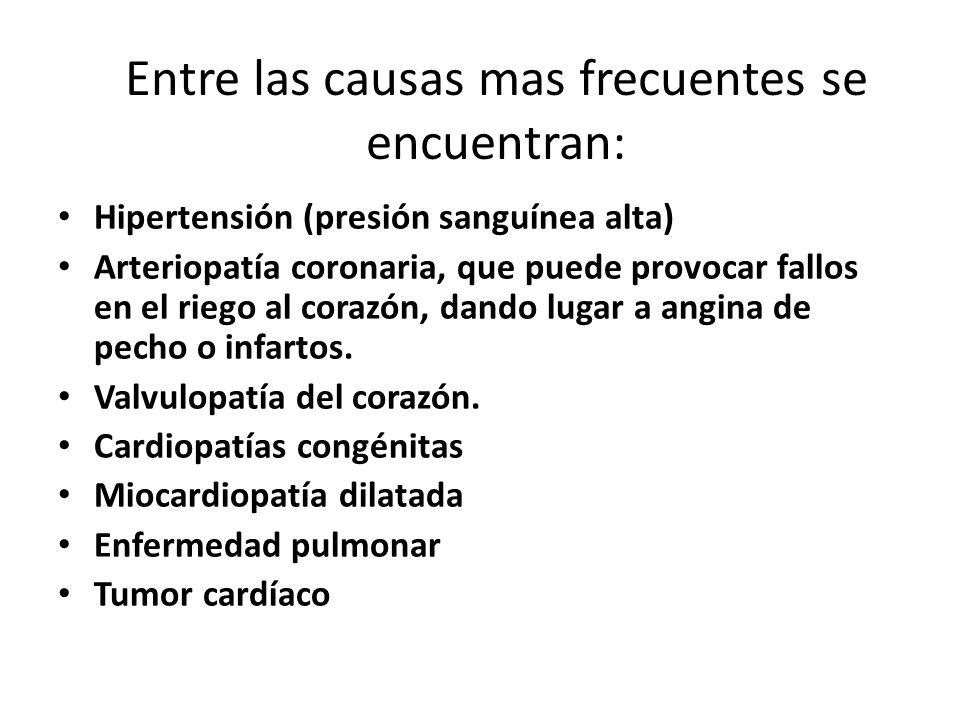 Entre las causas mas frecuentes se encuentran: Hipertensión (presión sanguínea alta) Arteriopatía coronaria, que puede provocar fallos en el riego al