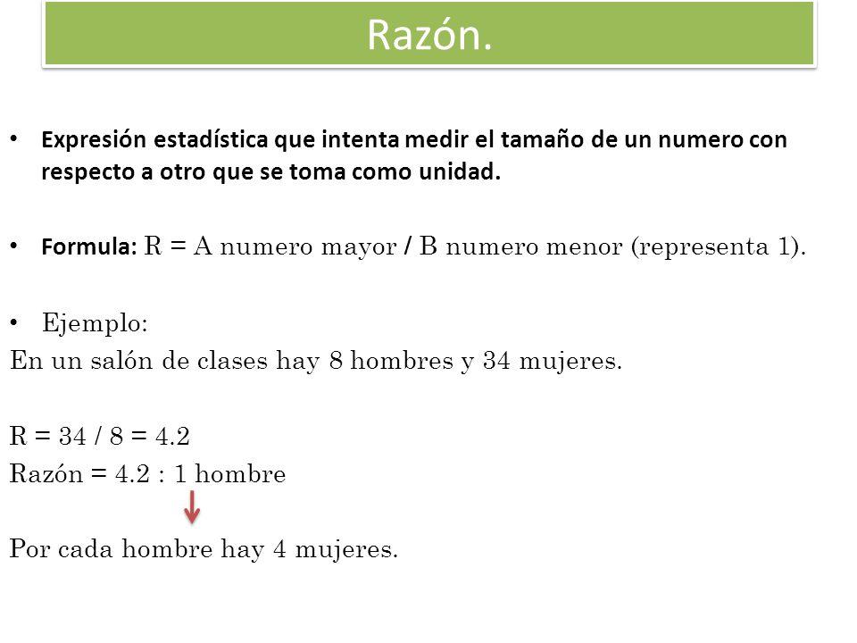 Proporción.expresión estadística que mide una parte de un total con respecto a dicho total.