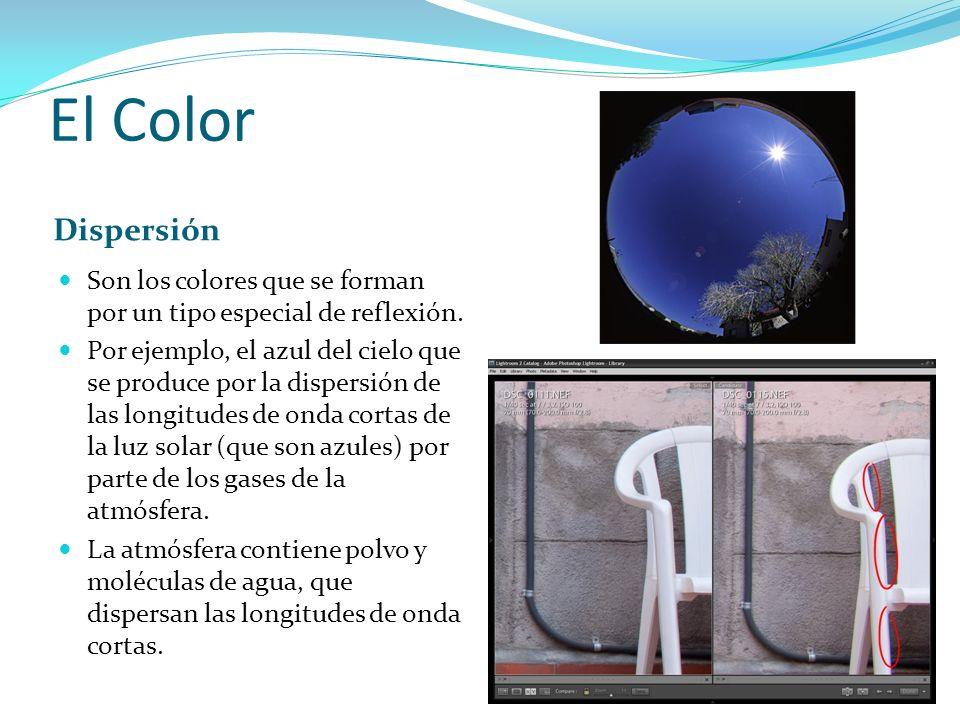 El Color Dispersión Son los colores que se forman por un tipo especial de reflexión. Por ejemplo, el azul del cielo que se produce por la dispersión d