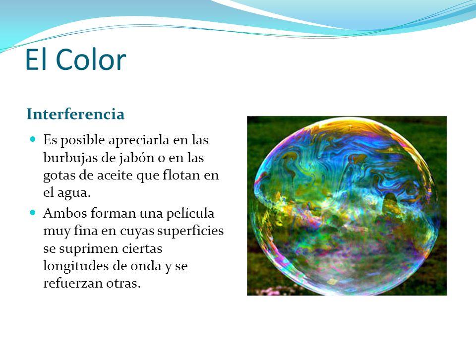 El Color Interferencia Es posible apreciarla en las burbujas de jabón o en las gotas de aceite que flotan en el agua. Ambos forman una película muy fi
