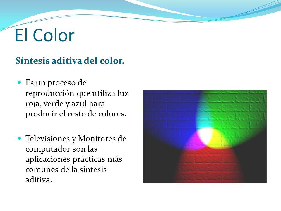 El Color Síntesis aditiva del color. Es un proceso de reproducción que utiliza luz roja, verde y azul para producir el resto de colores. Televisiones
