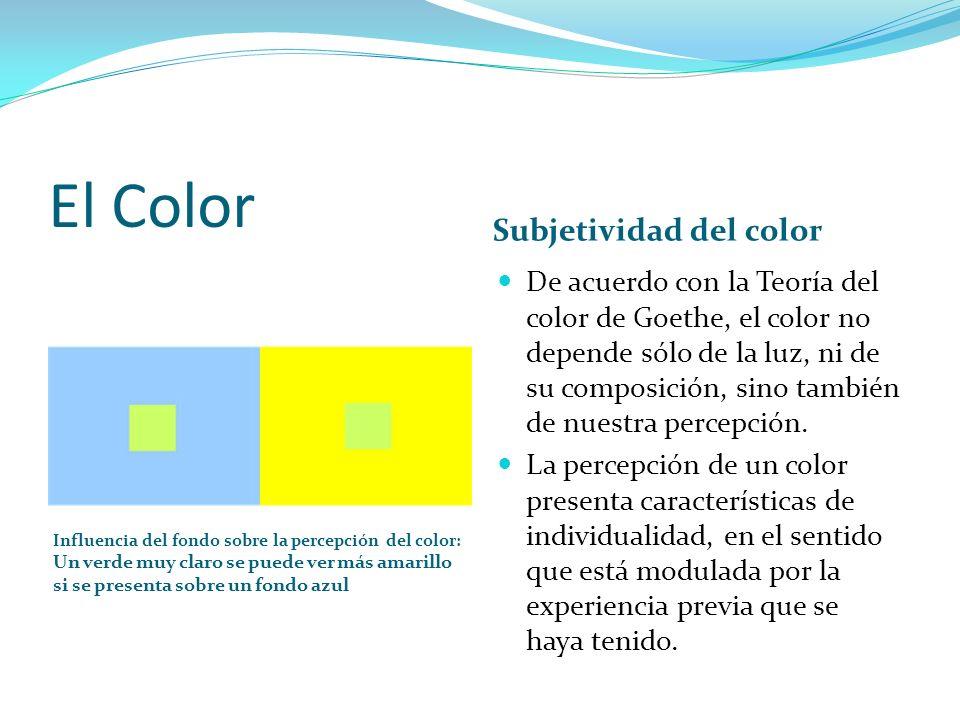 El Color Influencia del fondo sobre la percepción del color: Un verde muy claro se puede ver más amarillo si se presenta sobre un fondo azul Subjetivi