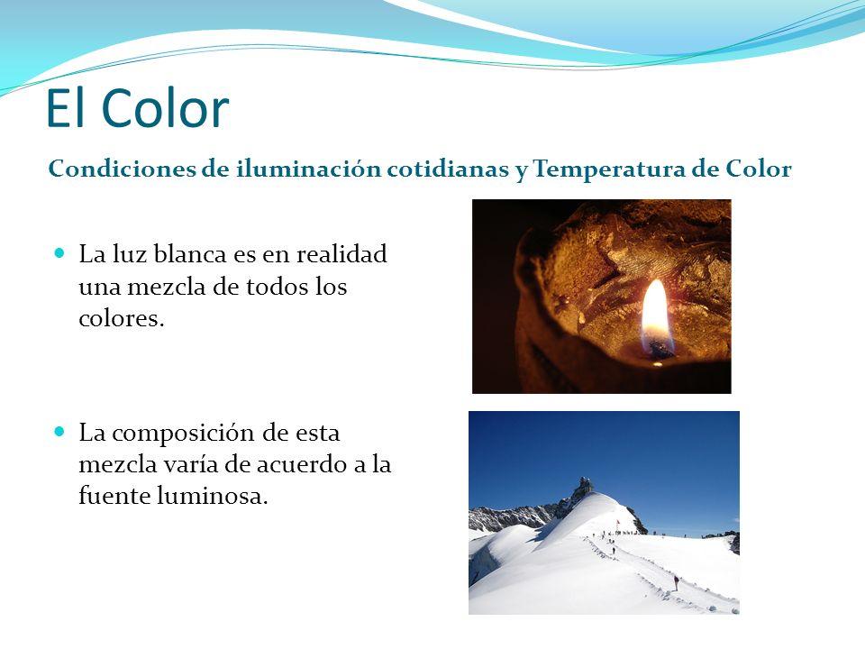 El Color Condiciones de iluminación cotidianas y Temperatura de Color La luz blanca es en realidad una mezcla de todos los colores. La composición de
