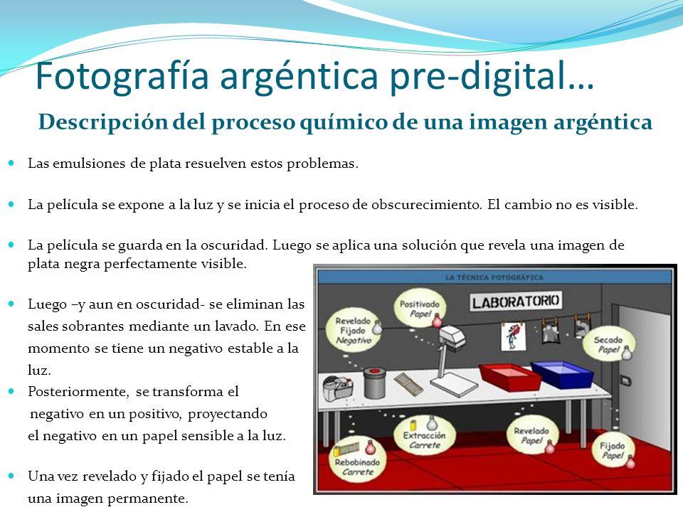 Fotografía argéntica pre-digital… Descripción del proceso químico de una imagen argéntica Las emulsiones de plata resuelven estos problemas. La pelícu