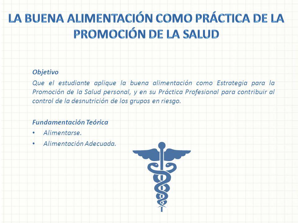 Objetivo Que el estudiante aplique la buena alimentación como Estrategia para la Promoción de la Salud personal, y en su Práctica Profesional para con