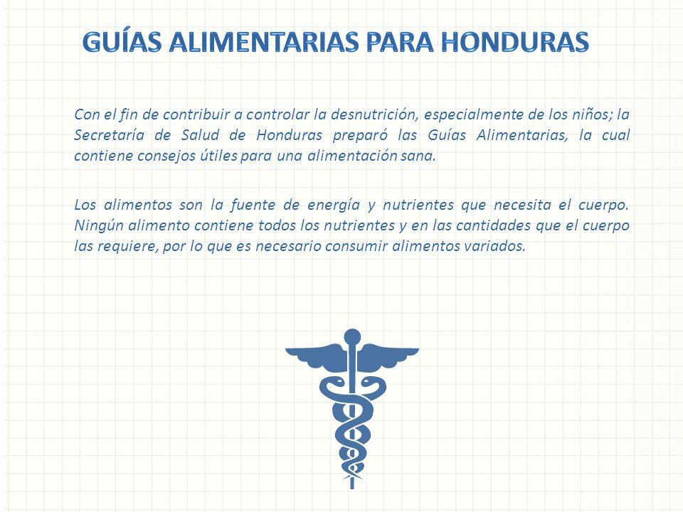 Con el fin de contribuir a controlar la desnutrición, especialmente de los niños; la Secretaría de Salud de Honduras preparó las Guías Alimentarias, l