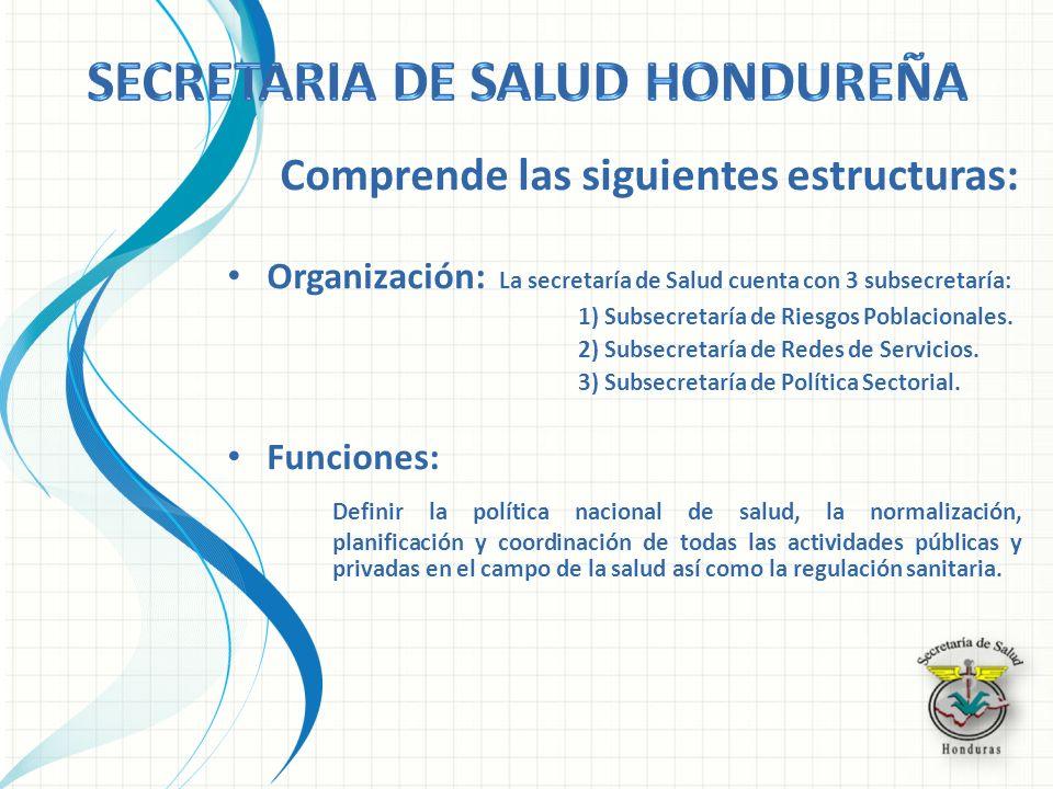 Comprende las siguientes estructuras: Organización: La secretaría de Salud cuenta con 3 subsecretaría: 1) Subsecretaría de Riesgos Poblacionales. 2) S