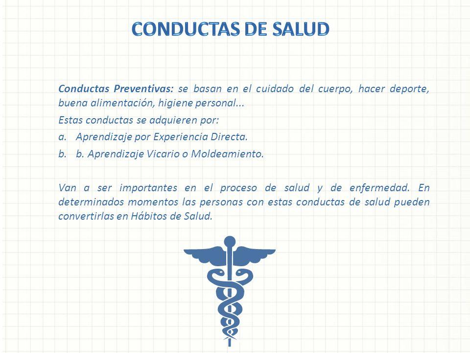 Conductas Preventivas: se basan en el cuidado del cuerpo, hacer deporte, buena alimentación, higiene personal... Estas conductas se adquieren por: a.A