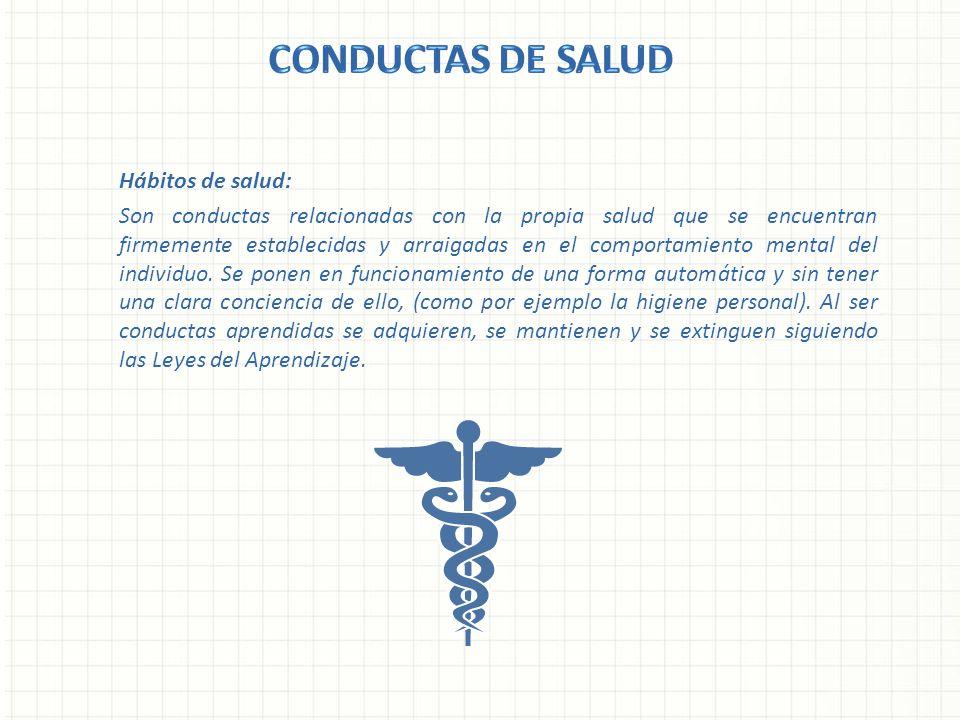 Hábitos de salud: Son conductas relacionadas con la propia salud que se encuentran firmemente establecidas y arraigadas en el comportamiento mental de