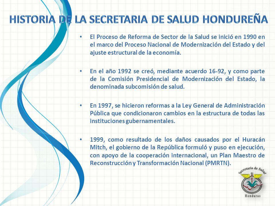 El Proceso de Reforma de Sector de la Salud se inició en 1990 en el marco del Proceso Nacional de Modernización del Estado y del ajuste estructural de