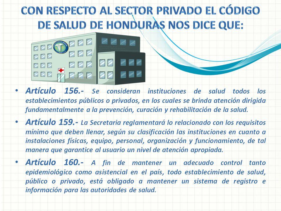 Artículo 156.- Se consideran instituciones de salud todos los establecimientos públicos o privados, en los cuales se brinda atención dirigida fundamen