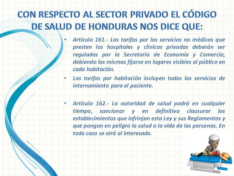Artículo 161.- Las tarifas por los servicios no médicos que presten los hospitales y clínicas privadas deberán ser reguladas por la Secretaría de Econ