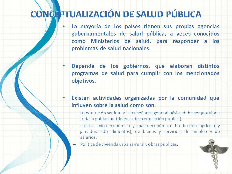 La mayoría de los países tienen sus propias agencias gubernamentales de salud pública, a veces conocidos como Ministerios de salud, para responder a l