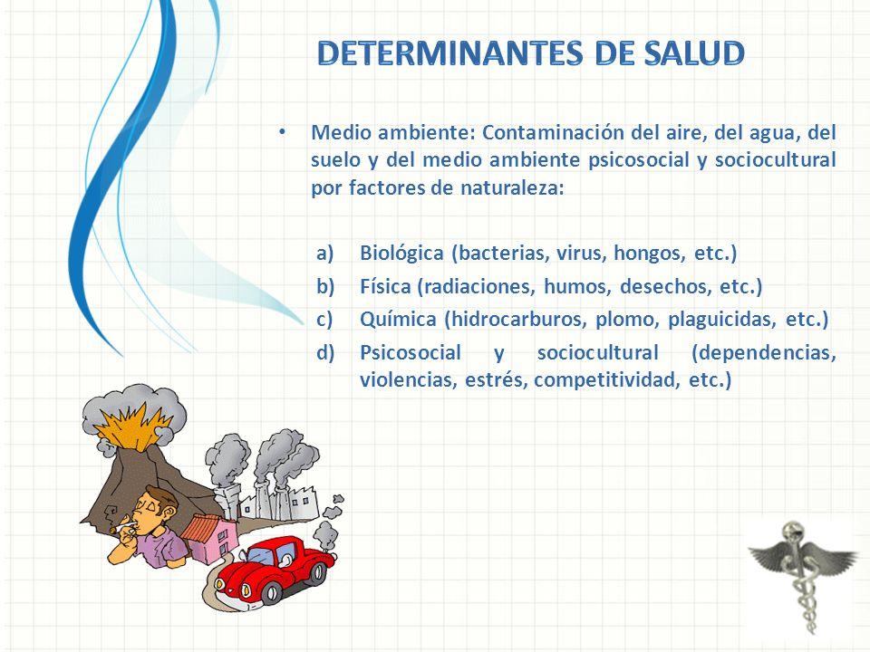 Medio ambiente: Contaminación del aire, del agua, del suelo y del medio ambiente psicosocial y sociocultural por factores de naturaleza: a)Biológica (